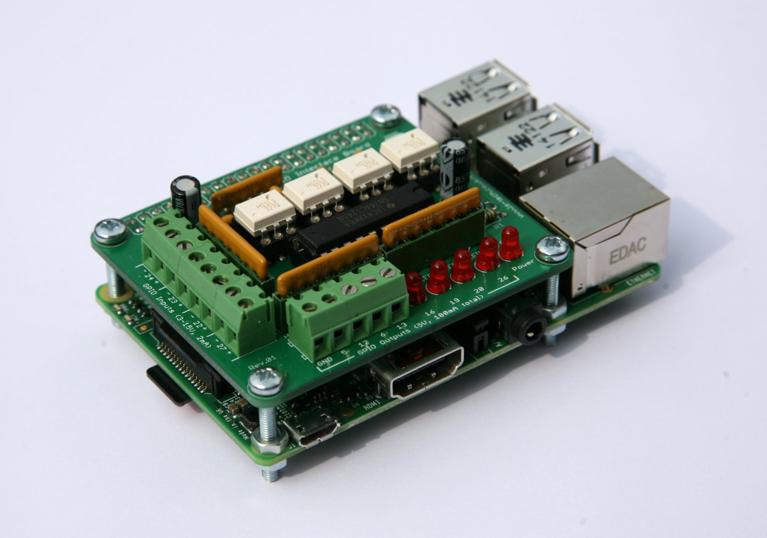 Lo-tech-gpio-interface-board-mounted-on-RaspberryPi-Bplus